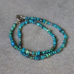 Jewelry - Natural Stone and Metal Necklace - Turquoise